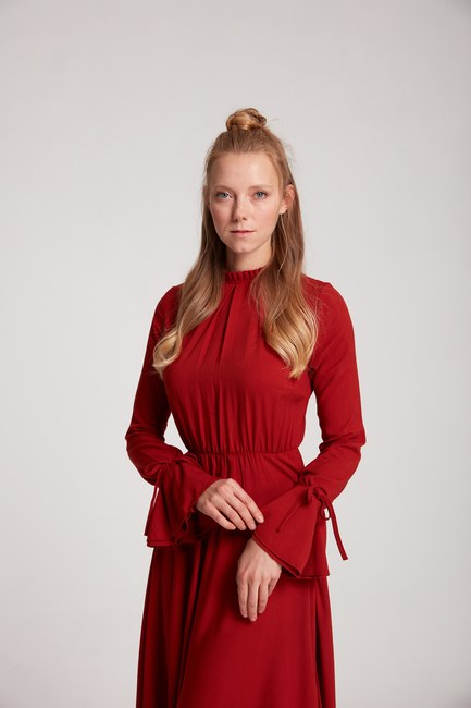 MIZALLE - Pleate Neck Detailed Dress (Brick Red) (1)