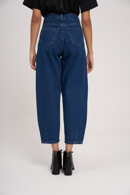 Pileli Balon Denim Pantolon (Koyu Mavi) - Thumbnail