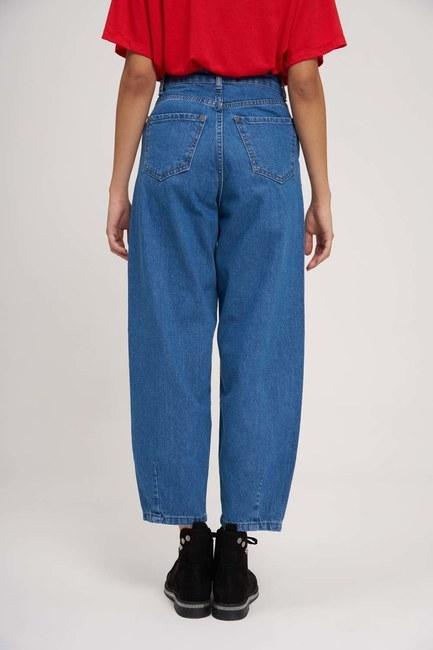 Pileli Balon Denim Pantolon (Mavi) - Thumbnail
