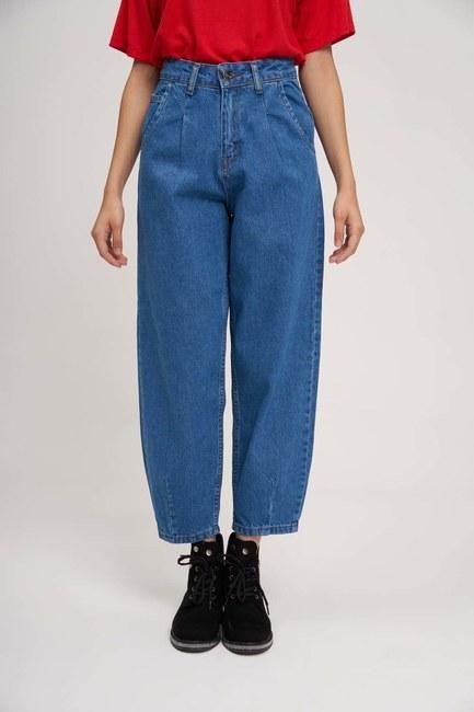 MIZALLE YOUTH - سروال جينز بالون مطوي (أزرق) (1)