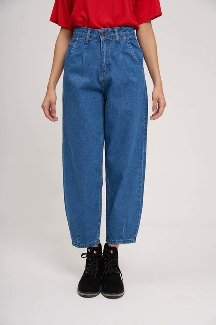 Mizalle Youth - Pileli Balon Denim Pantolon (Mavi) (1)
