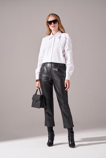 Mizalle - Pileli Basic Deri Pantolon (Siyah)