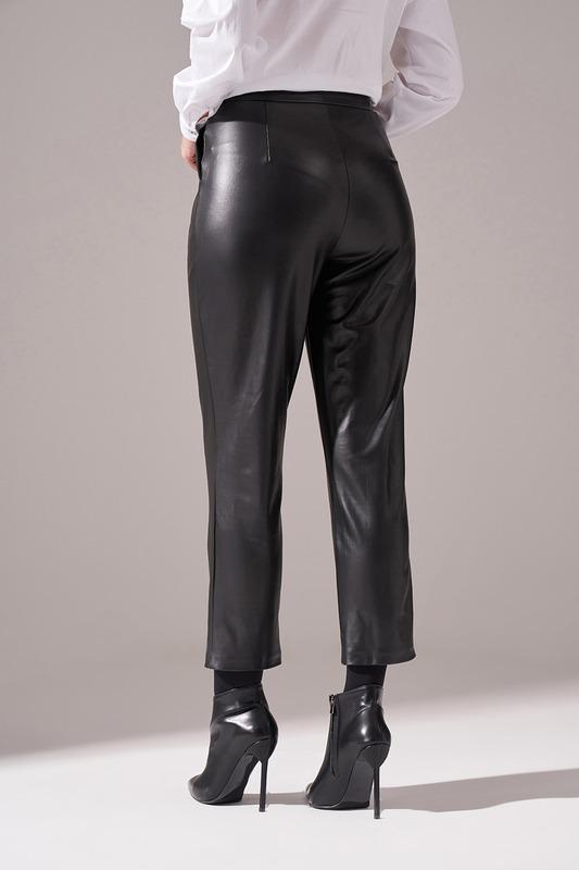 Pileli Basic Deri Pantolon (Siyah)
