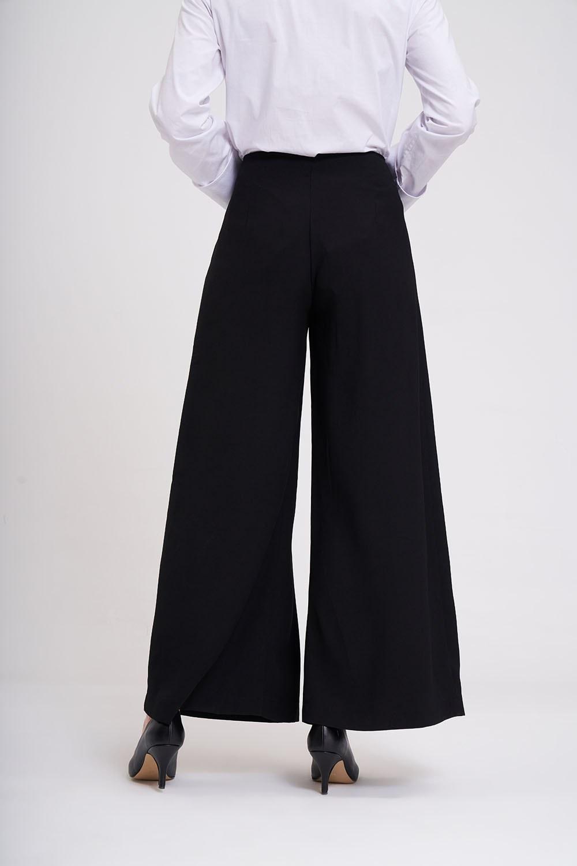 Pileli Bol Paça Krep Pantolon (Siyah)