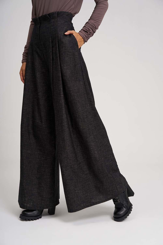 MIZALLE Pleated Plenty Leg Trousers (Brown) (1)