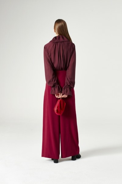 Pleated Trousers (Claret Red) - Thumbnail