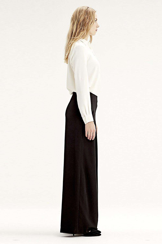 MIZALLE Pileli Pantolon (Siyah) (1)