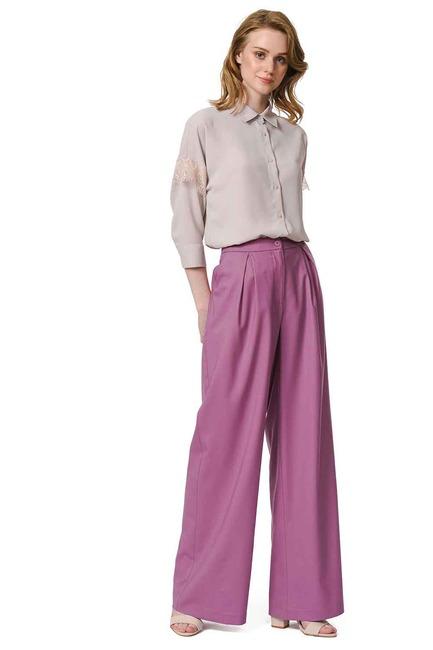 Mizalle - Pileli Premium Pantolon (Lila)