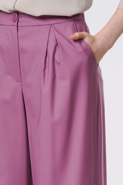 Pileli Premium Pantolon (Lila) - Thumbnail