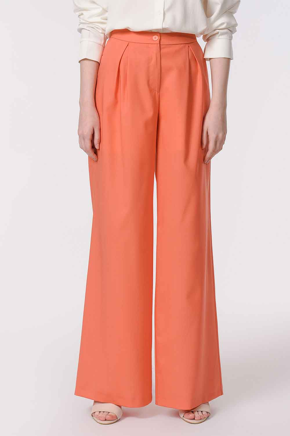 MIZALLE Pleated Premium Trousers (Salmon) (1)