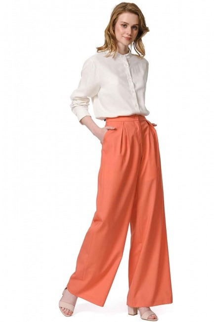 MIZALLE Pileli Premium Pantolon (Somon)