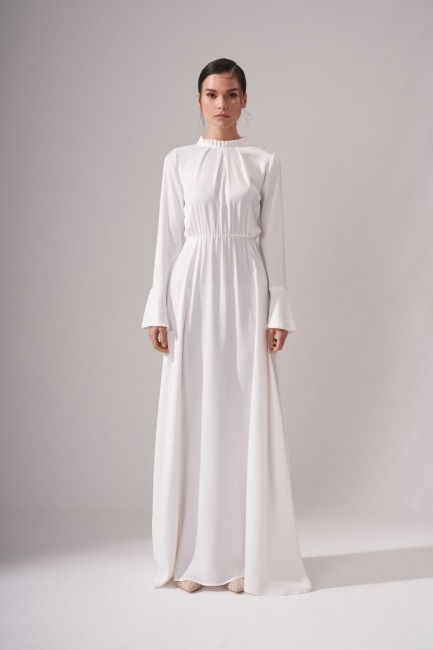 Mizalle - Pileli Yaka Desenli Elbise (Ekru)