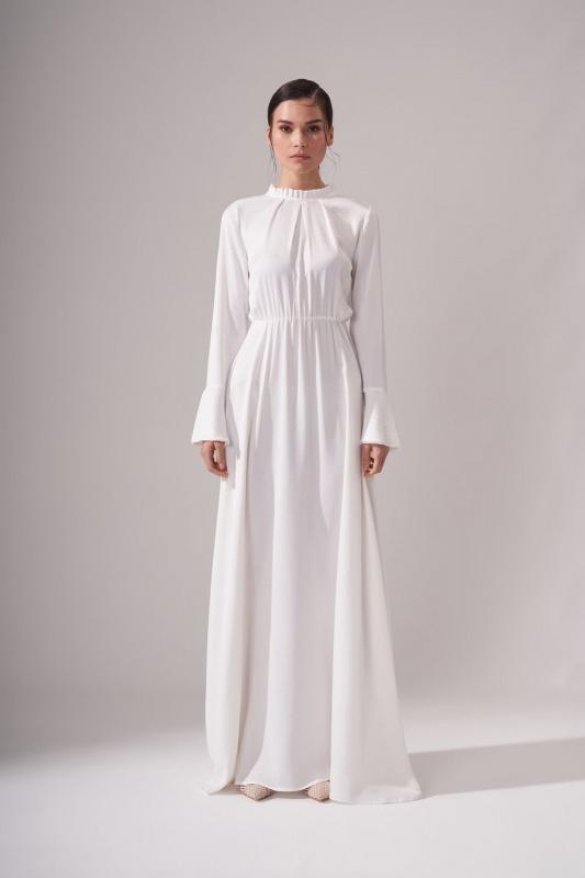 Pileli Yaka Desenli Elbise (Ekru)