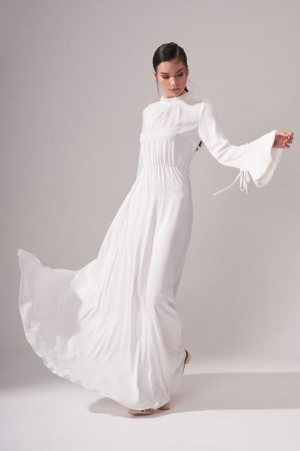 Pileli Yaka Desenli Elbise (Ekru) - Thumbnail