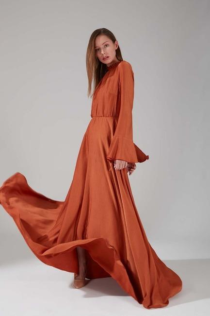 Mizalle - Pileli Yaka Desenli Elbise (Kiremit)