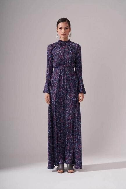 Mizalle - Pileli Yaka Desenli Elbise (Lacivert)