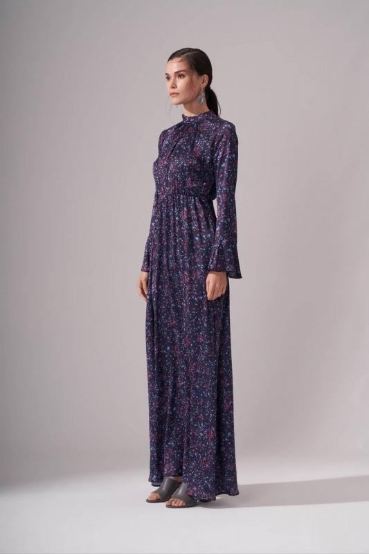 Pileli Yaka Desenli Elbise (Lacivert)