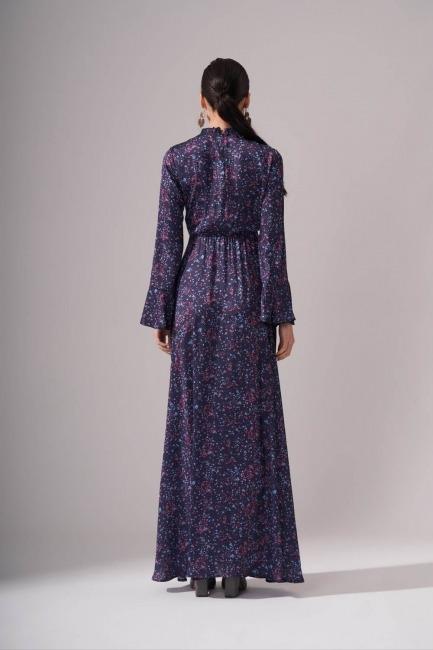 Pileli Yaka Desenli Elbise (Lacivert) - Thumbnail