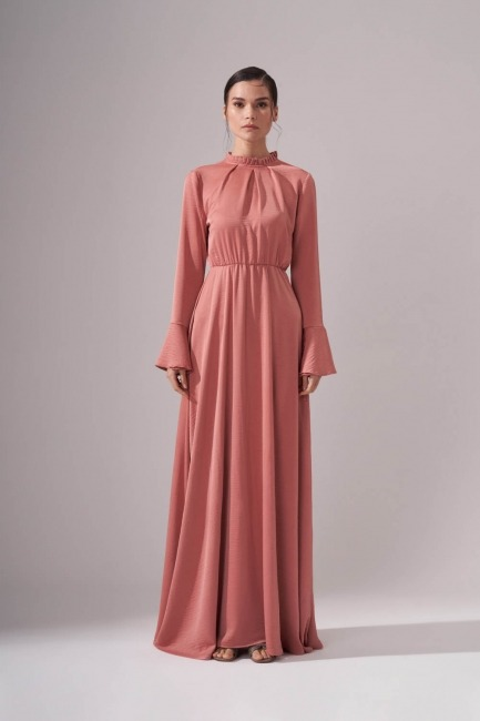 Mizalle - Pileli Yaka Desenli Elbise (Pudra)
