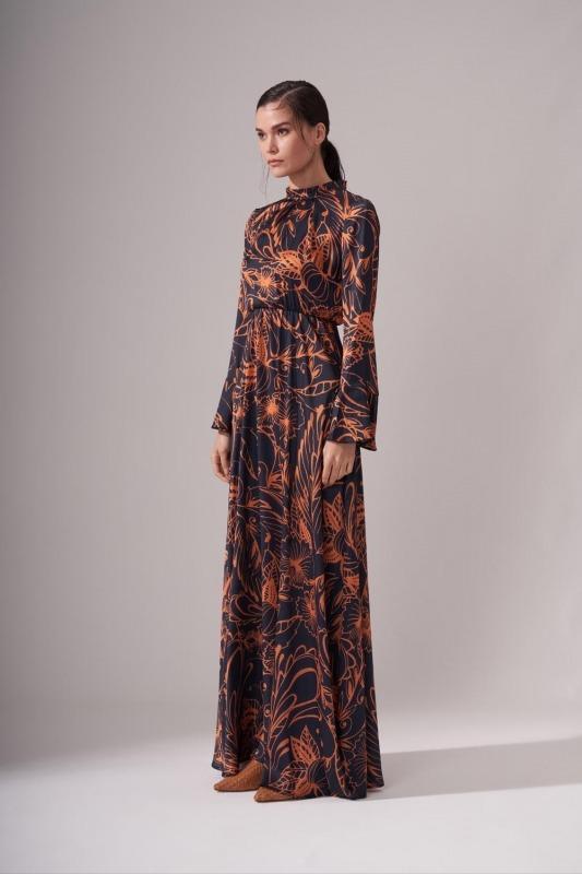 Pileli Yaka Desenli Elbise (Safran)