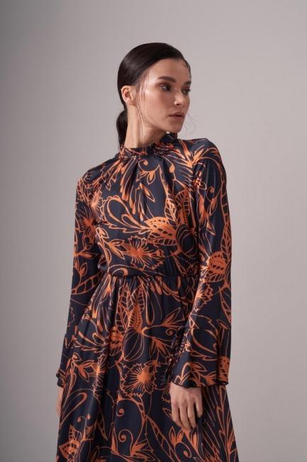 Pileli Yaka Desenli Elbise (Safran) - Thumbnail