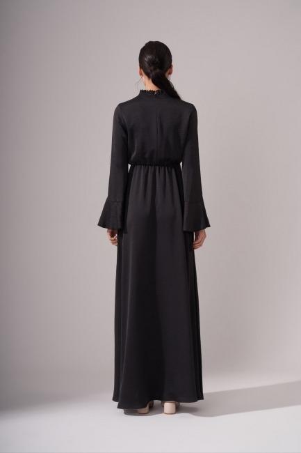 Pileli Yaka Desenli Siyah Elbise - Thumbnail