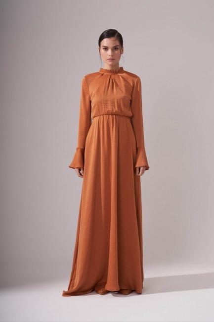 Mizalle - Pileli Yaka Desenli Elbise (Tarçın)