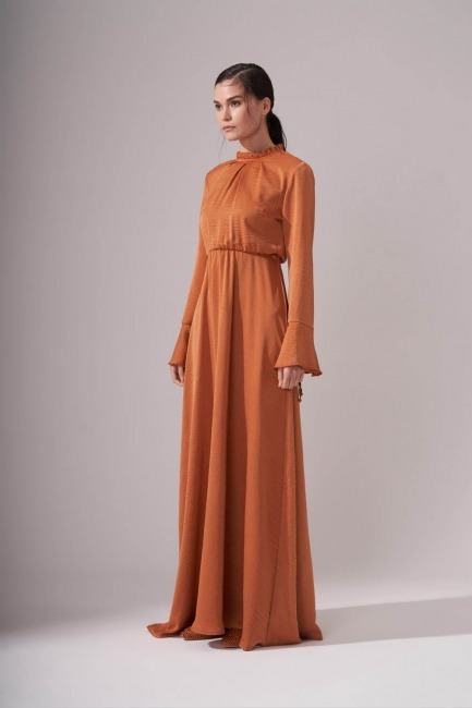 Pileli Yaka Desenli Elbise (Tarçın) - Thumbnail