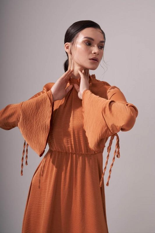 Pileli Yaka Desenli Elbise (Tarçın)