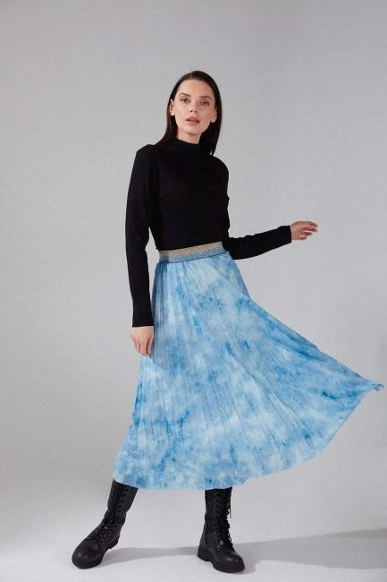Mizalle - Piliseli Batik Etek (Mavi)