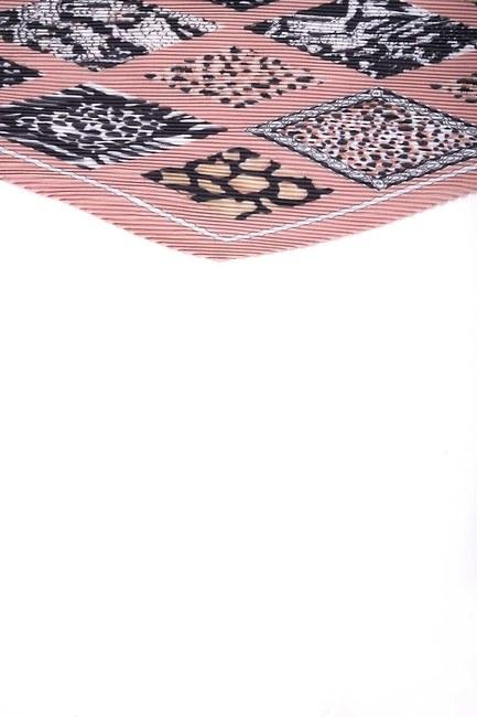 Mizalle - Pleated Patterned Scarf (Beige) (1)
