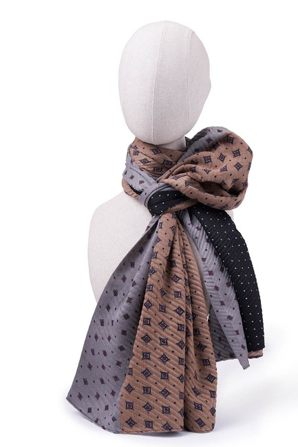 MIZALLE - Pleated Patchwork Shawl (Black) (1)