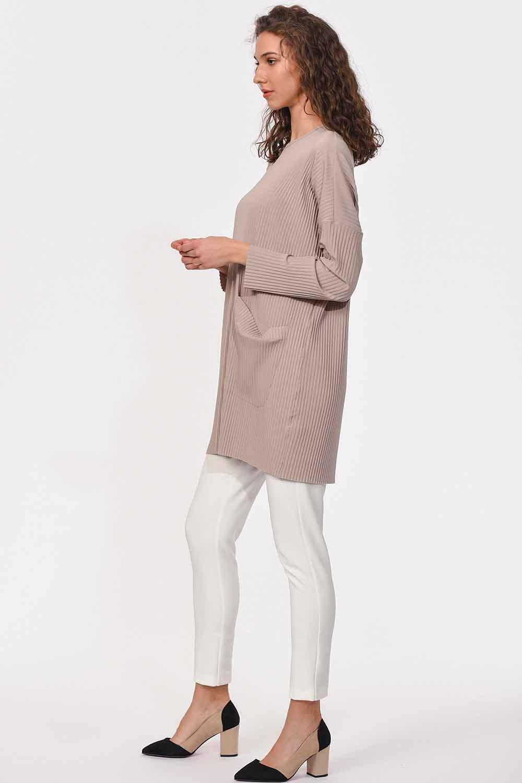 MIZALLE Piliseli Sandy Cep Detaylı Bluz (Bej) (1)