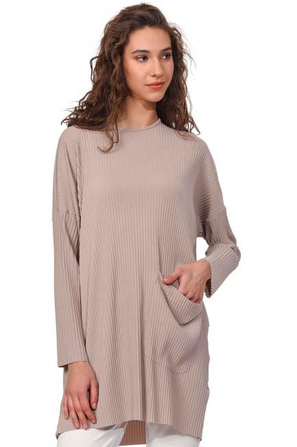 MIZALLE Piliseli Sandy Cep Detaylı Bluz (Bej)