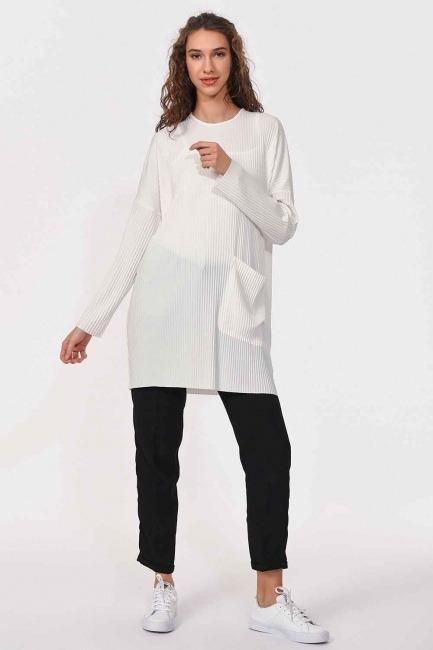 Piliseli Sandy Cep Detaylı Bluz (Ekru)