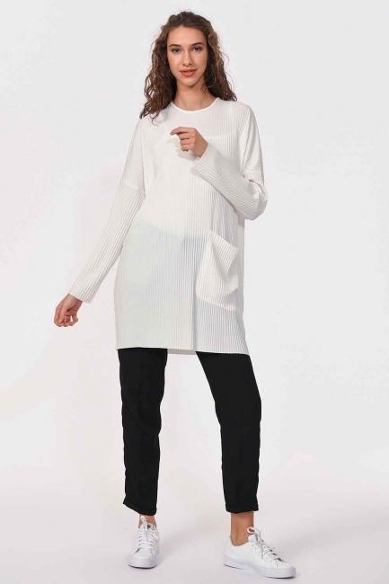 MIZALLE - Piliseli Sandy Cep Detaylı Bluz (Ekru) (1)