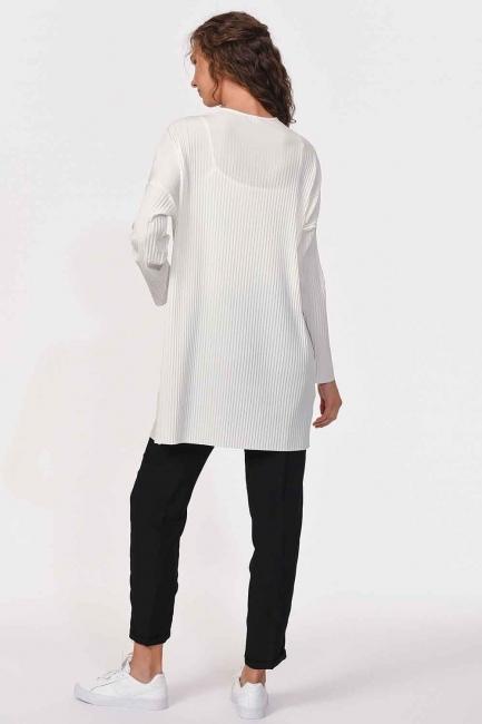 Piliseli Sandy Cep Detaylı Bluz (Ekru) - Thumbnail