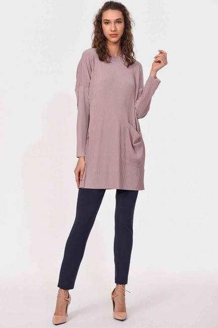 Piliseli Sandy Cep Detaylı Bluz (Pudra) - Thumbnail
