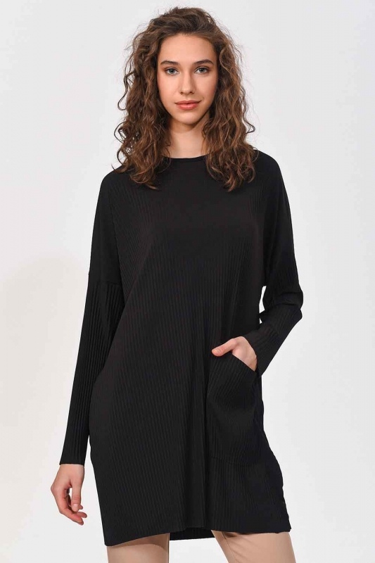Piliseli Sandy Cep Detaylı Bluz (Siyah)