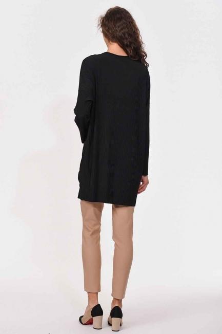 Piliseli Sandy Cep Detaylı Bluz (Siyah) - Thumbnail