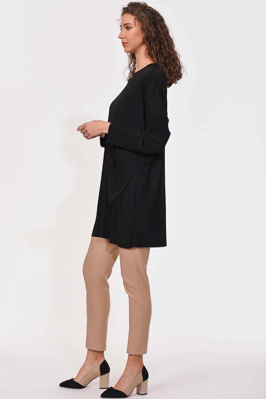 MIZALLE Piliseli Sandy Cep Detaylı Bluz (Siyah) (1)