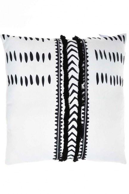 MIZALLE HOME Pillow Case (White/Navy Blue)