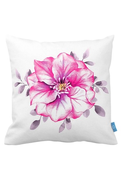 Pink Floral Decorative Pillow Case (43X43) - Thumbnail