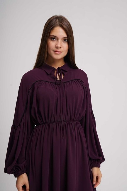 MIZALLE - Piped Blouse (Purple) (1)