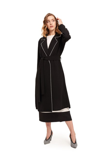 Mizalle - Piped Long Crepe Jacket (Black) (1)