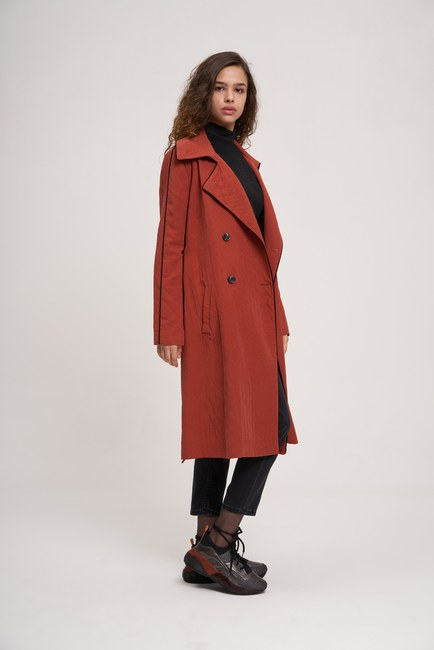 MIZALLE YOUTH - Piped TrenchCoat (Brick Red) (1)