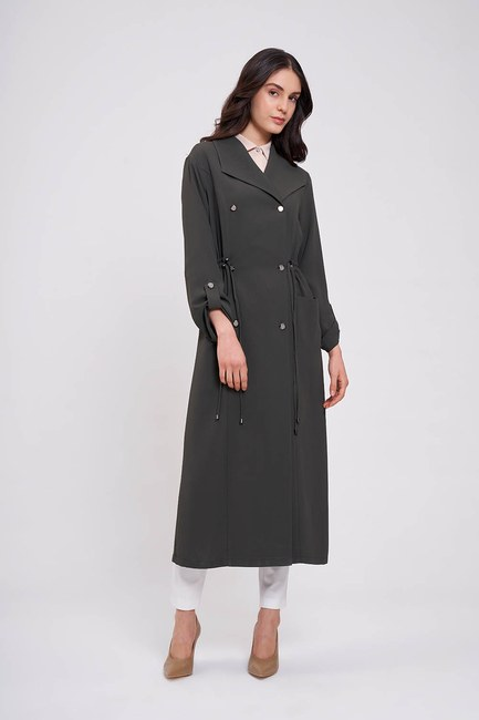 Mizalle - Pique Textured Trenchcoat (Khaki) (1)