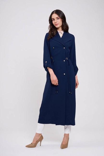 Mizalle - Pique Textured Trenchcoat (Navy Blue) (1)