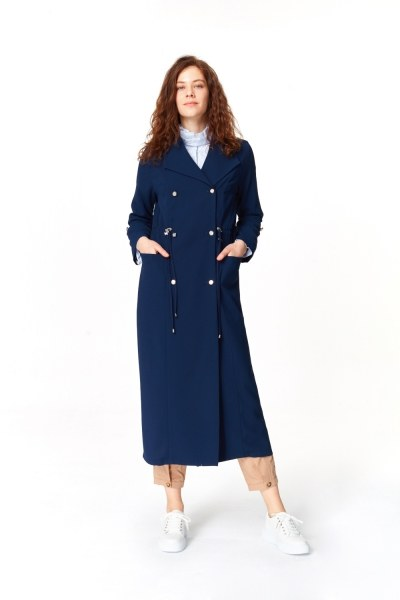 Pique Textured Trenchcoat (Navy Blue) - Thumbnail