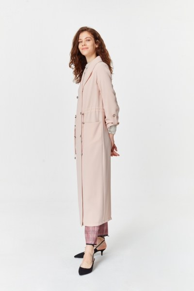 MIZALLE - Pique Textured Trenchcoat (Powder) (1)